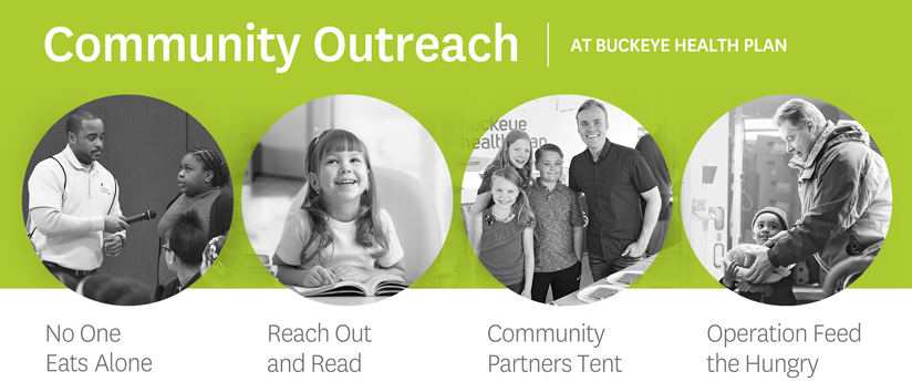Community Outreach: No One Eats Alone, Reach out and Read, Community Partners Tent, Operation Feed the Hungry